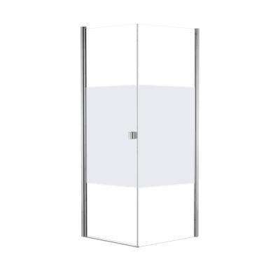 Doccia con porta battente e lato fisso Neo 77 - 79 x 77 - 79 cm, H 200 cm vetro temperato 6 mm serigrafato/cromo PVD