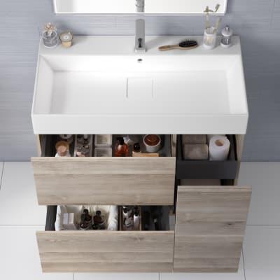 Mobile bagno Neo Line L 90 x P 48 x H 64 cm 1 anta + 2 cassetti rovere grigio