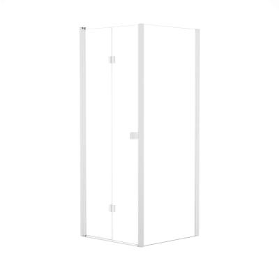 Doccia con porta pieghevole e lato fisso Neo 77 - 81 x 77 - 79 cm, H 201,7 cm vetro temperato 6 mm trasparente/bianco opaco