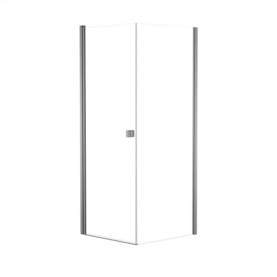 Doccia con porta battente e lato fisso Neo 69 - 71 x 77 - 79 cm, H 200 cm vetro temperato 6 mm trasparente/silver