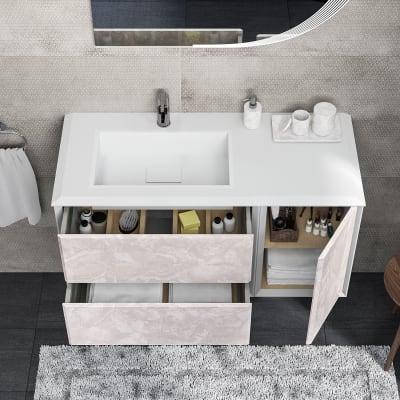 Mobile bagno Bellagio bianco con frontale onice L 105 cm