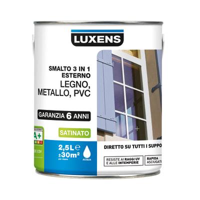 Smalto Luxens 3 in 1 all'acqua Grigio Zincato 1 satinato 2.5 L