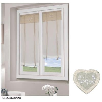 Tendina a vetro regolabile per portafinestra Charlotte naturale 60 x 230 cm