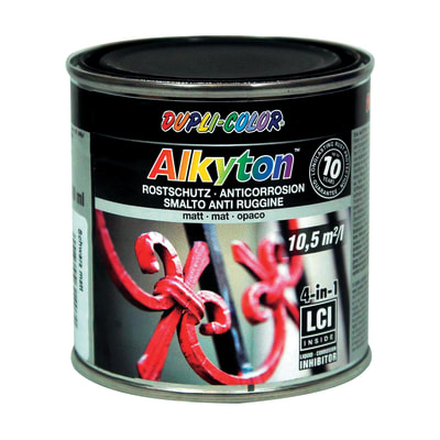 Smalto per ferro antiruggine Alkyton nero RAL 9005 opaco 0,25 L