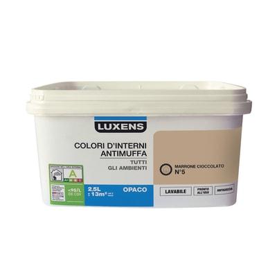 Idropittura lavabile Antimuffa Marrone Cioccolato 5 - 2,5 L Luxens