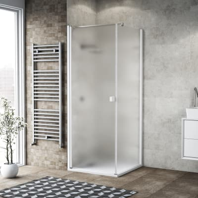 Doccia con porta battente e lato fisso Neo 71 - 73 x 77 - 79 cm, H 200 cm vetro temperato 6 mm bianco opaco