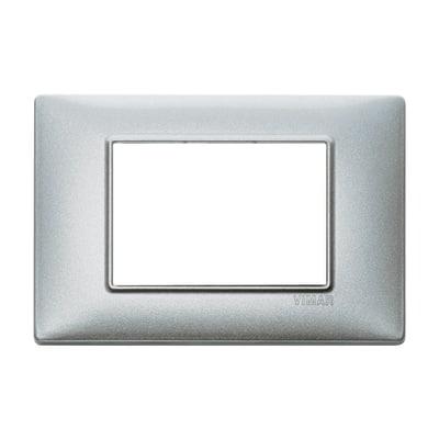 Placca 3 moduli Vimar Plana argento metallizzato
