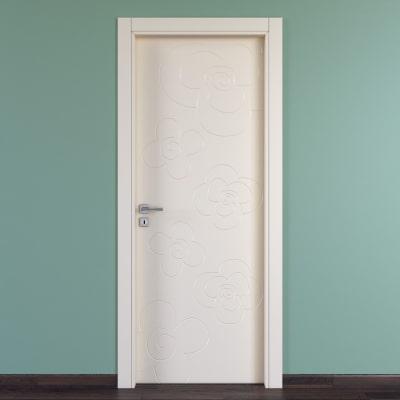 Porta da interno battente Flower ivory avorio 70 x H 210 cm dx
