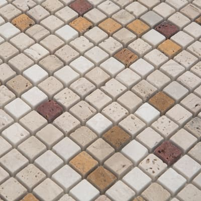 Mosaico Travertino 30,5 x 30,5 cm marrone, beige