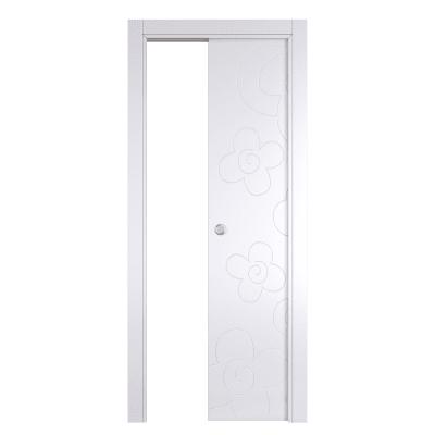 Porta da interno scorrevole Flower white bianco 80 x H 210 cm reversibile