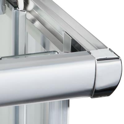 Box doccia scorrevole Quad 87.5-89 x 87,5-89, H 190 cm cristallo 6 mm serigrafato/silver