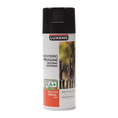 Smalto per ferro antiruggine spray Luxens nero RAL 9005 brillante 0,4 L