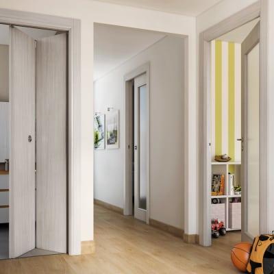 Porta da interno pieghevole Brooklyn frassino bianco 70 x H 210 cm dx