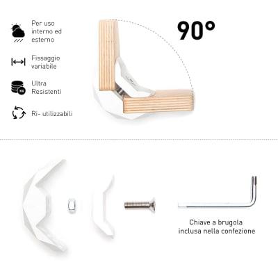 4 connettori Playwood 90° per pannelli in legno in plastica hi-tech bianco