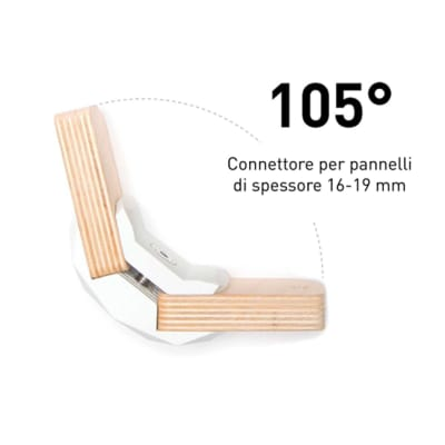4 connettori Playwood 105° per pannelli in legno in plastica hi-tech bianco