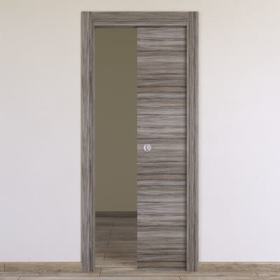 Porta da interno scorrevole Cover palissandro grigio 80 x H 210 cm reversibile