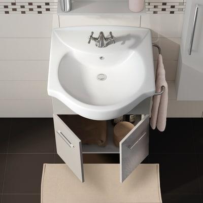 Mobile bagno Ginevra grigio lucido L 56,5 cm