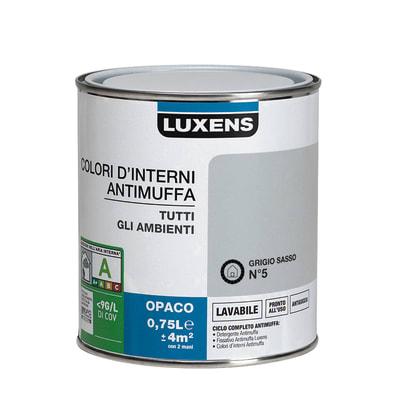 Idropittura lavabile Antimuffa Grigio Sasso 5 - 0,75 L Luxens
