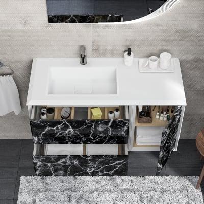 Mobile bagno Devon bianco con frontale black stone L 105 cm