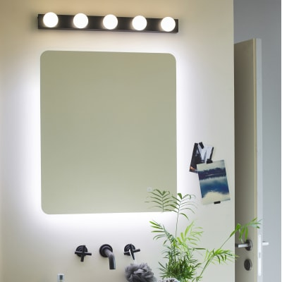 Luce da specchio Smila nero 60 cm 1 W 450 Lumen led integrato IP44