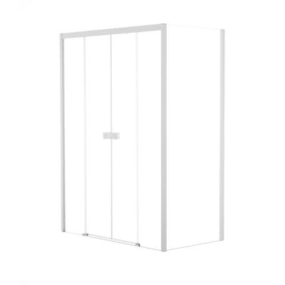 Doccia con porta scorrevole a 4 ante e lato fisso Neo 172 - 176 x 77 - 79 cm, H 200 cm vetro temperato 6 mm trasparente/bianco opaco