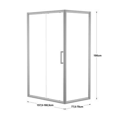 Doccia con porta scorrevole e lato fisso Quad 157.5 - 160,5 x 77.5 - 79 cm, H 190 cm cristallo 6 mm trasparente/silver