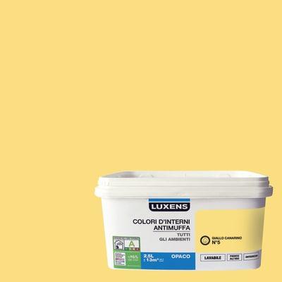 Idropittura lavabile Antimuffa Giallo Canarino 5 2,5 L Luxens