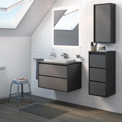 Mobile bagno Loto grigio antracite con frontale in vetro L 75 cm