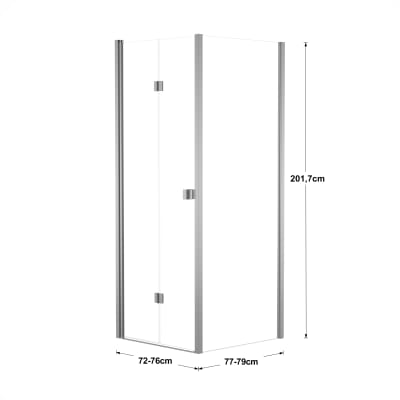 Doccia con porta pieghevole e lato fisso Neo 72 - 76 x 77 - 79 cm, H 201,7 cm vetro temperato 6 mm trasparente/silver