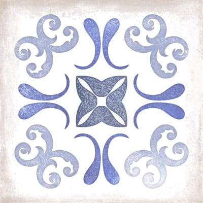 Piastrella Patine 15 x 15 cm blu, bianco, azzurro