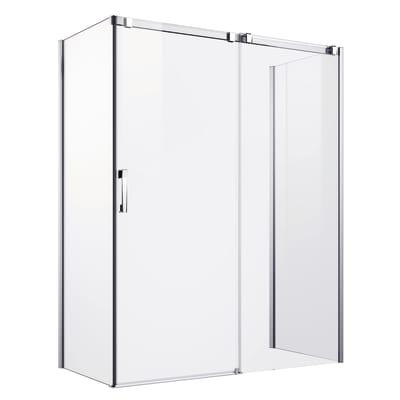 Porta doccia scorrevole Master 157-157, H 196 cm vetro temperato 8 mm extra light/argento lucido