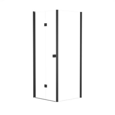 Doccia con porta pieghevole e lato fisso Neo 92 - 96 x 77 - 79 cm, H 201,7 cm vetro temperato 6 mm trasparente/nero
