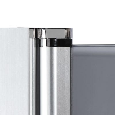 Doccia con porta battente e lato fisso Neo 97 - 99 x 77 - 79 cm, H 200 cm vetro temperato 6 mm trasparente/bianco opaco