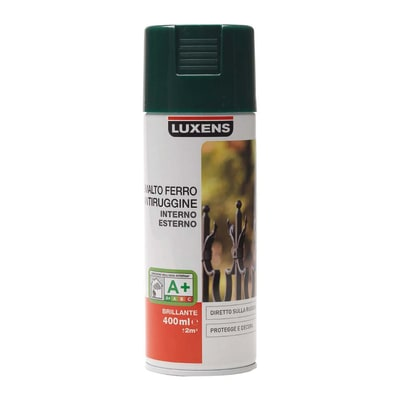 Smalto per ferro antiruggine spray Luxens verde RAL 6005 brillante 0,4 L