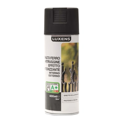 Smalto per ferro antiruggine spray Luxens nero nero antichizzato 0,4 L