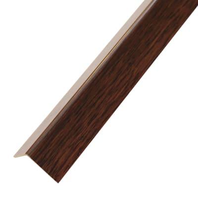 Profilo angolare a L adesivo in PVC mogano, L 19,5 x H 19,5 x S 1,5 mm x P 1 m