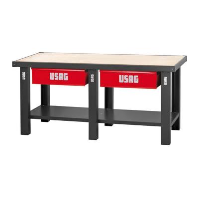 Banco da lavoro Con piano legno, 2 cassetti, L200 x H85 x P70 cm