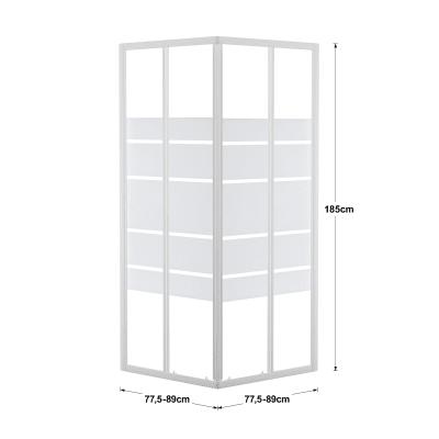 Box doccia scorrevole Nerea 77.5-89 x 77,5-89, H 185 cm cristallo 4 mm serigrafato/bianco lucido