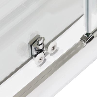Doccia con porta scorrevole e lato fisso Quad 97.5 - 100,5 x 77.5 - 79 cm, H 190 cm cristallo 6 mm trasparente/silver