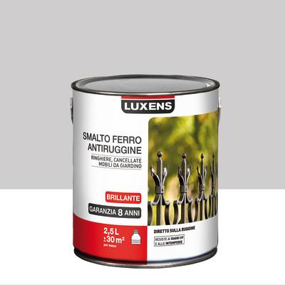 Smalto per ferro antiruggine Luxens grigio sasso brillante 2,5 L