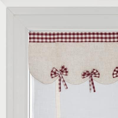Tendina a vetro regolabile per portafinestra Anika bianco e rosso 60 x 230 cm