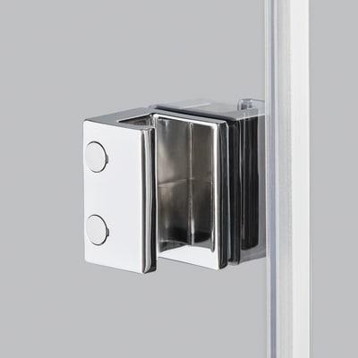 Doccia con porta pieghevole e lato fisso Neo 77 - 81 x 77 - 79 cm, H 201,7 cm vetro temperato 6 mm trasparente/cromo PVD
