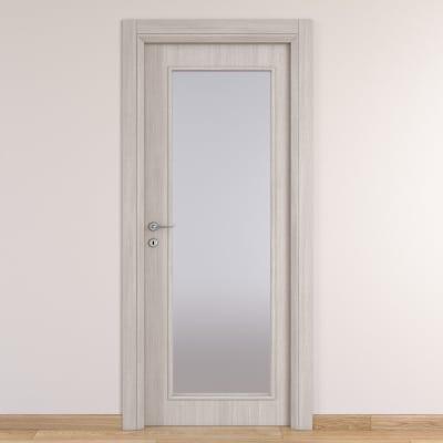 Porta da interno battente Brooklyn Vetro frassino bianco 70 x H 210 cm reversibile