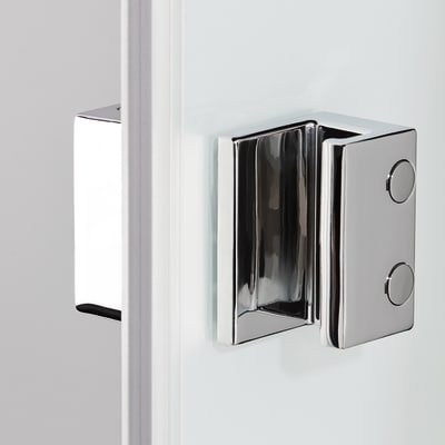 Doccia con porta scorrevole e lato fisso Neo 117 - 121 x 77 - 79 cm, H 200 cm vetro temperato 6 mm fumè/silver