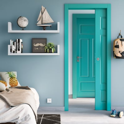 Porta da interno battente Coconut Groove azzurro 70 x H 210 cm dx