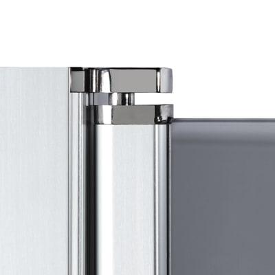 Doccia con porta battente e lato fisso Neo 77 - 79 x 77 - 79 cm, H 200 cm vetro temperato 6 mm fumè/silver