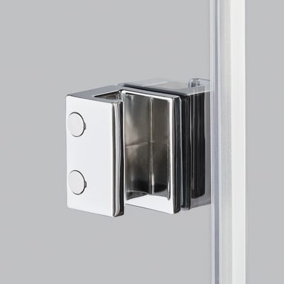 Doccia con porta battente e lato fisso Neo 89 - 91 x 77 - 79 cm, H 200 cm vetro temperato 6 mm serigrafato/cromo PVD