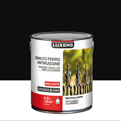 Smalto per ferro antiruggine Luxens nero brillante 2,5 L
