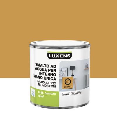 Smalto manounica Luxens all'acqua Giallo Banana 1 satinato 0.5 L