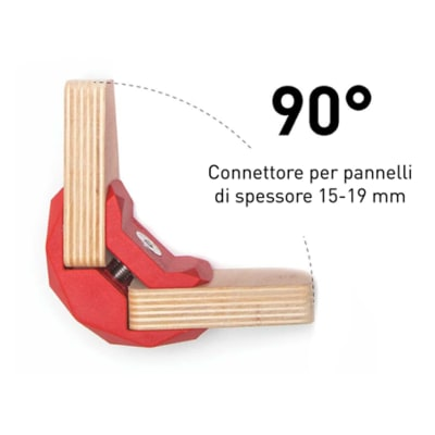4 connettori Playwood 90° per pannelli in legno in plastica hi-tech rosso
